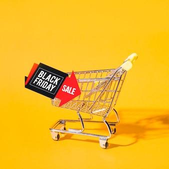 Shopping trolley near tablet