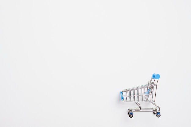 Shopping trolley with blue handle