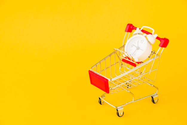 Shopping trolley with little alarm clock