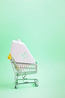 Shopping trolley with miniature hose inside. house buying, bank loan, real estate agency concept