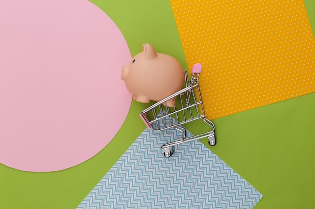 Shopping trolley with piggy bank on creative colorful paper background.