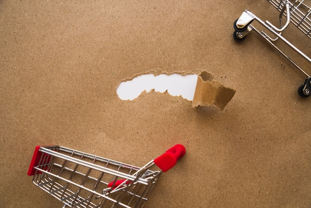 Shopping trolleys on craft paper