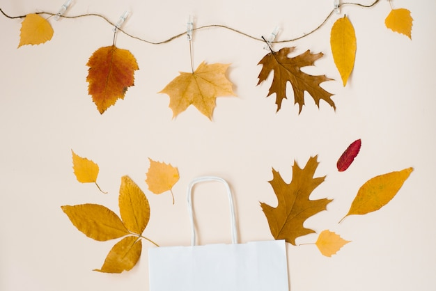 Shopping white paper bag with fallen leaves peeking out of it