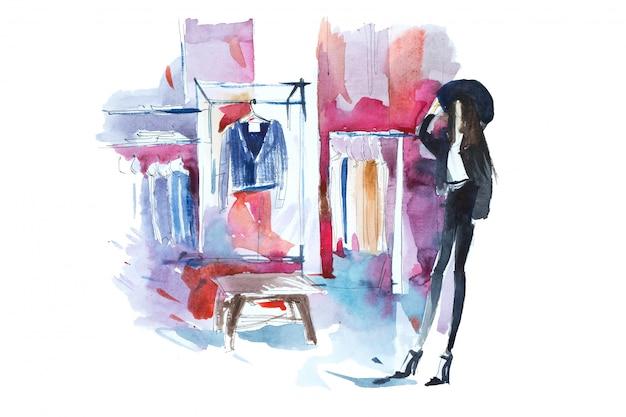 Шоппинг женщина в магазине одежды акварельные иллюстрации