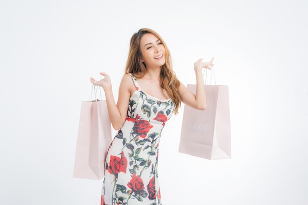 ショッピング女性の肖像画。