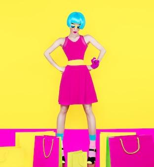 Shopping woman shopping bugs crazy style