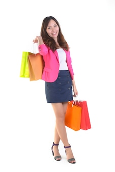Shopping young asian women holding shopping bags.