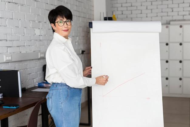 Donna d'affari dai capelli corti che mostra una lavagna a fogli mobili