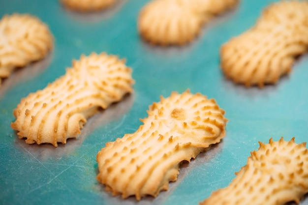 Песочное печенье. производство песочного печенья на кондитерской фабрике. песочное печенье на металлической решетке после запекания в духовке.