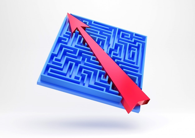 Shortcut to success. maze game and arrow.