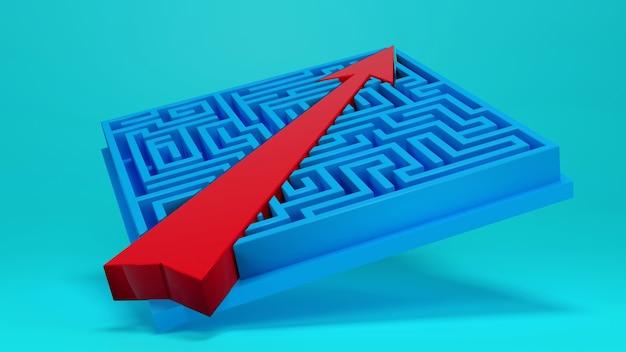 Ярлык к успеху., лабиринт игры и стрелка., бизнес-концепция. 3d визуализация.