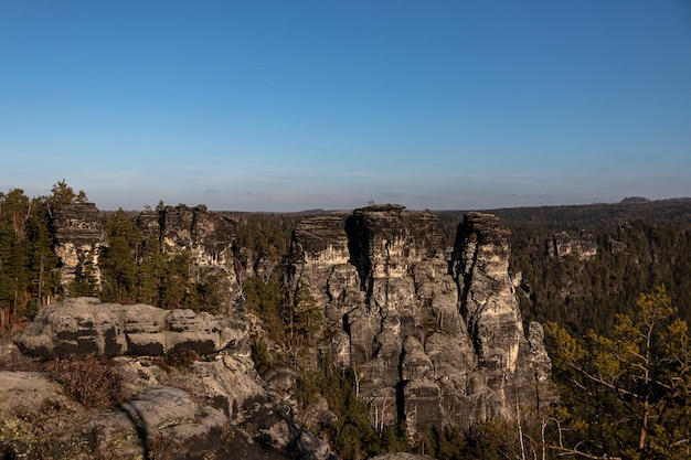 Shot of bastei bridge in germany under a clear blue sky