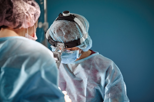 A shot of an emergency and a serious accident in the operating room