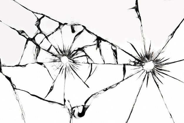 균열이있는 유리 잔, 금이 간 손상된 자동차 앞 유리의 질감