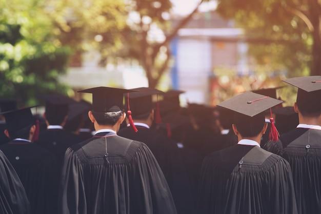 Shot of graduation hats during commencement success graduates of the university