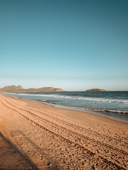 Shot of a hilly beach near rio de janeiro, brazil