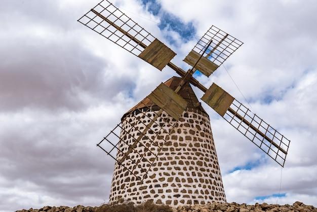 カクタスガーデンアンティグアスペインでの風車のショット