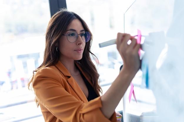 사무실에서 포스트잇 스티커와 함께 화이트 보드 작업을 하는 비즈니스 젊은 여성의 총.
