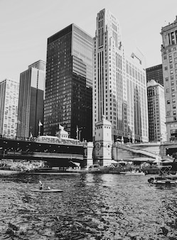 시카고 고층 빌딩의 샷