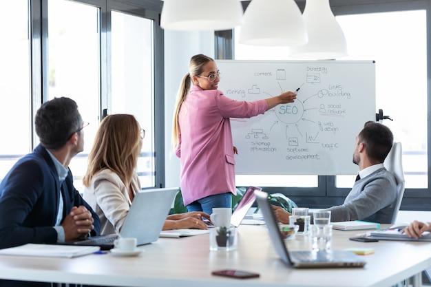 白い黒板を指しているエレガントな若い実業家のショットとコワーキング場所で彼女の同僚にプロジェクトを説明します。