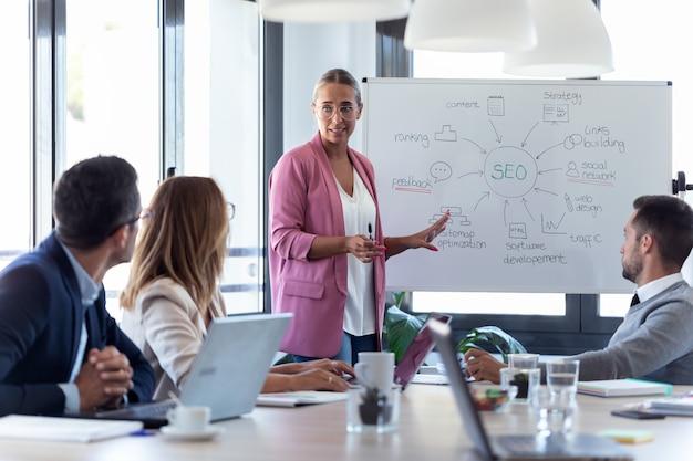白い黒板を指しているエレガントな若い実業家のショットとコワーキング場所で彼女の同僚にプロジェクトを説明します。 Premium写真