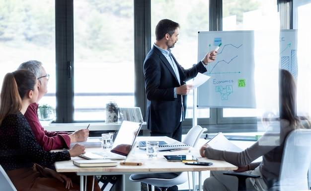 白い黒板を指しているハンサムなビジネスマンのショットとコワーキング場所で彼女の同僚にプロジェクトを説明します。