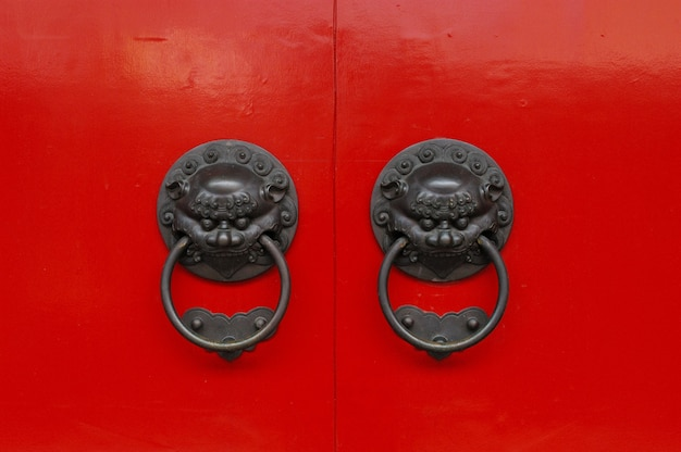 Shot of an old chinese  styled metallic doorknobs with lion guardians