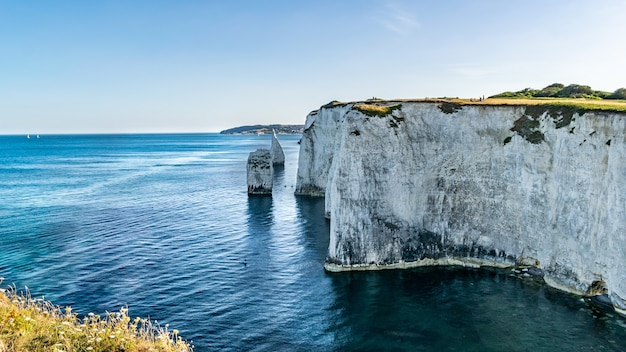 Shot of old harry rocks chalk formations, handfast point,  purbeck