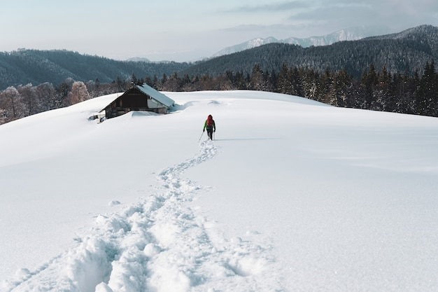 Behind shot of a person hiking in the snowy mountain near an old cottage surrounded by fir trees