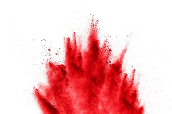 Shot red holy powder exploding