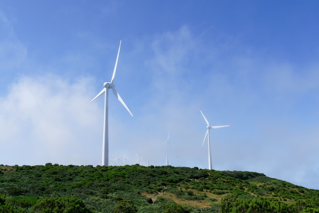 Shot of wind turbines on the mountains