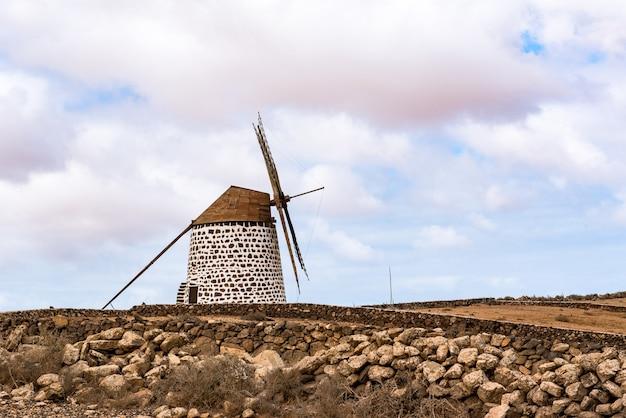 Inquadratura di un mulino a vento a cactus garden antigua spain