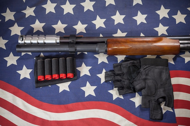 Shotgun american flag background.
