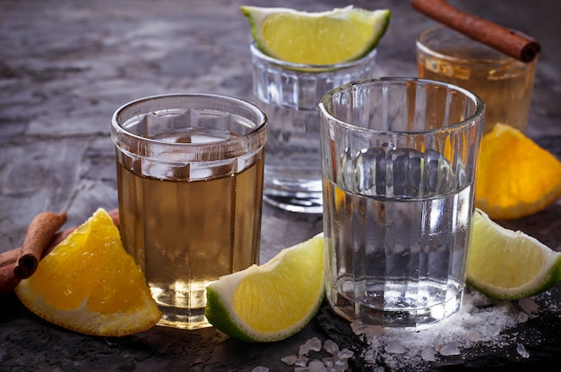 Shots of silver and gold tequila with lime, salt, orange and cinnamon. selective focus