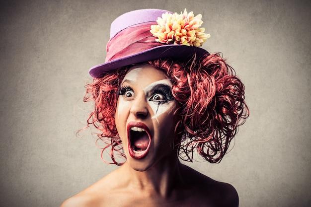 Shouting female clown