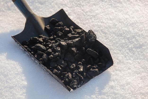 Shovel full of coal in the snow in winter