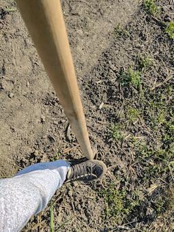 晴れた日に農業労働者が使用する地球上のシャベル