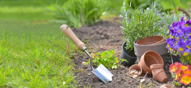 Shovel planted in the soil of a garden next to flowerpots