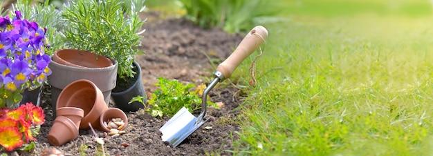 Посадка лопаты в почву рядом с терракотовыми горшками и цветами с копией пространства на траве