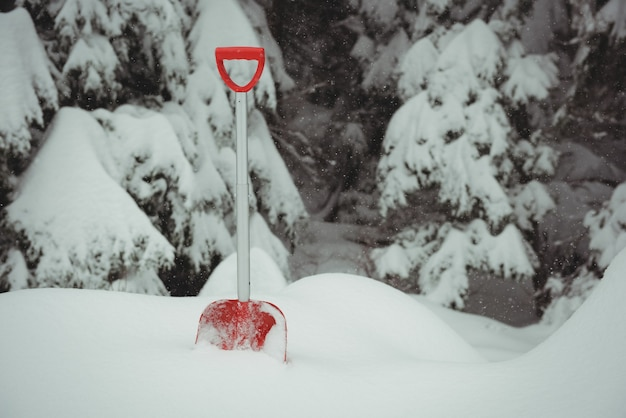Shovel in a snowy landscape