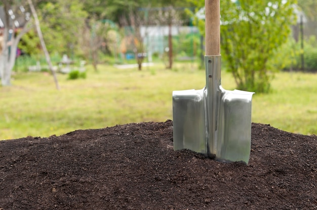 Shovel stuck in the ground.