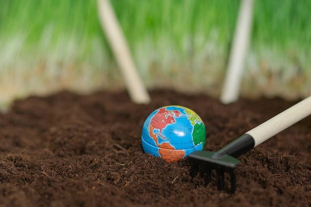 A shovels and rakes on the ground, preparing for the planting of the crop. earth day. planet earth.