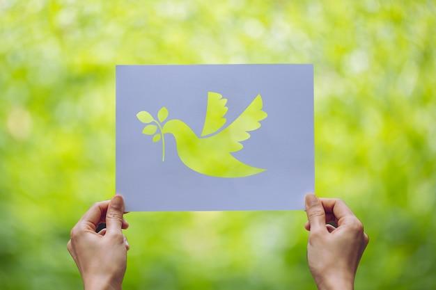 Покажите вырезанную бумагу с логотипом голубя, шаблон концепции мира, международный день мира