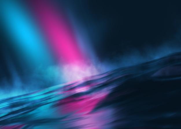 물에 네온 빛의 빈 무대 배경 어두운 추상적 인 배경 반사 표시
