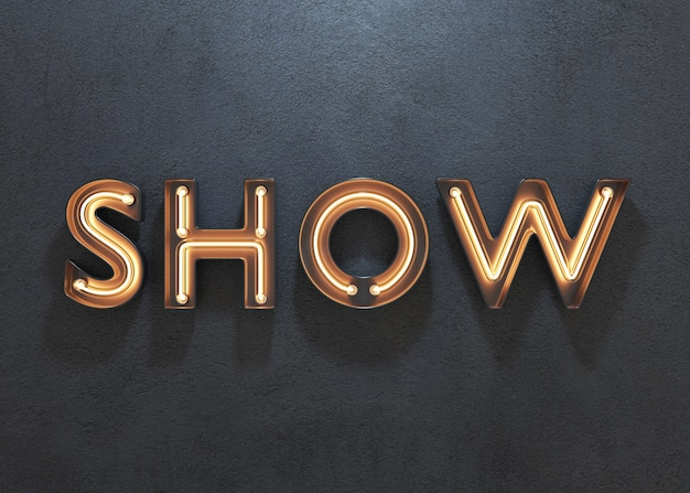 Show neon sign on dark background