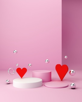 Show a product. empty scene with cylinder mirror, spheres and podium. pastel pink minimal wall and hearts. fashion showcase, display case, shopfront.