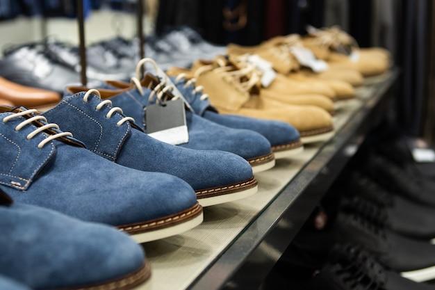 Showcase of men's shoe store