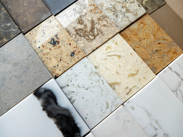 Showcase with samples of decorative stone texture of natural marble for interior