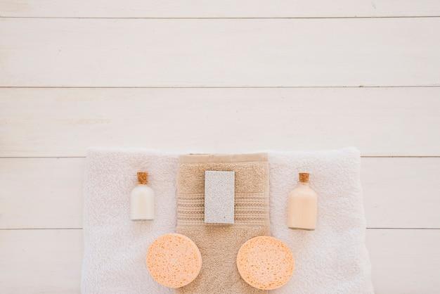 Shower accessories on white desk