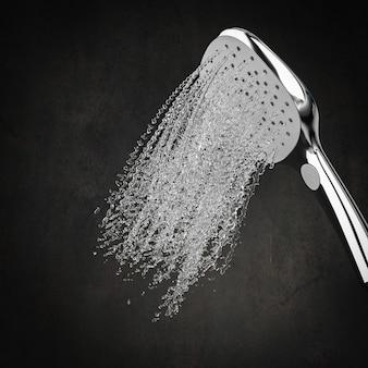 シャワーと水が飛散する
